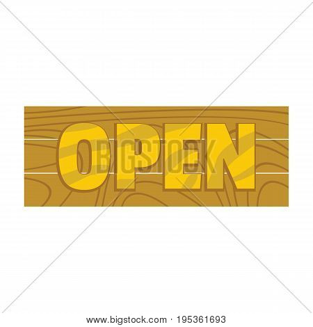 Wooden cartoon signboard with text open for your design vector illustration isolated on white background wooden sign for city advertising