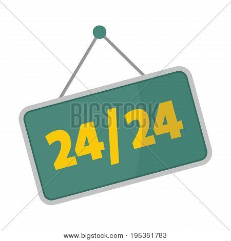 Metallic signboard with text for working hours design vector illustration isolated on white background metallic sign for city advertising
