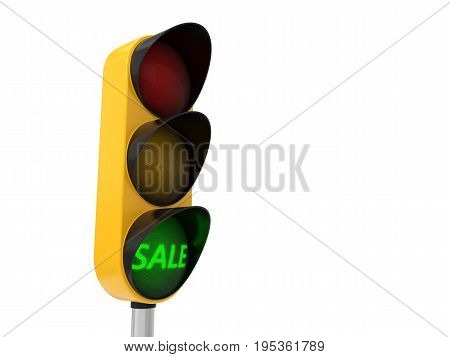 3d illustration of traffic light. conceptual design with sale text on yellow light.