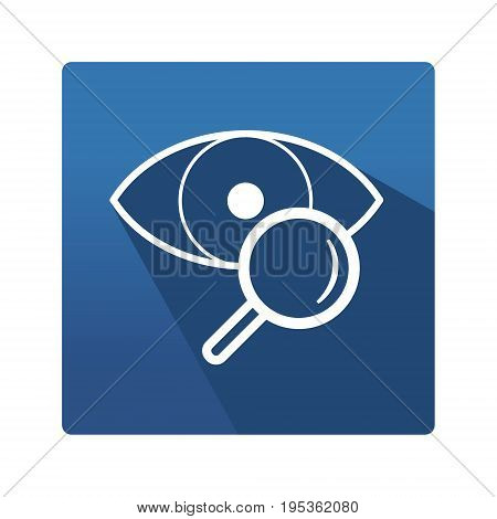 Flat Icon. Optic. Icon in trendy flat style isolated on blue background. Eye symbol for your web site design, logo, app. Vector illustration