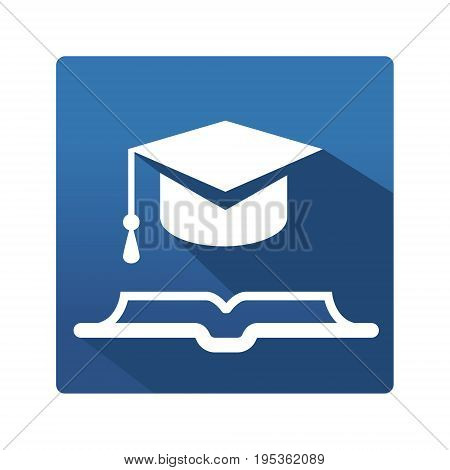 Learning and education icon. Education icon in trendy flat style on blue background. Education pictogram for your web site design, logo, app. Vector illustration