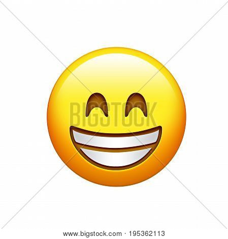 Isolated Yellow Smiling Face With White Teeth Icon