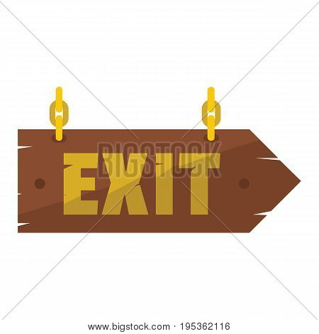 Wooden vintage signboard with text exit for your design vector illustration isolated on white background Wooden sign for city advertising