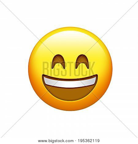 Isolated Yellow Smiling Face With White Upper Teeth Icon