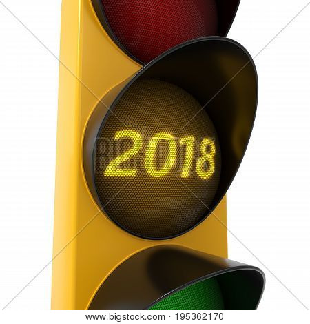 3d illustration of traffic light. conceptual design with 2018 text on yellow light.