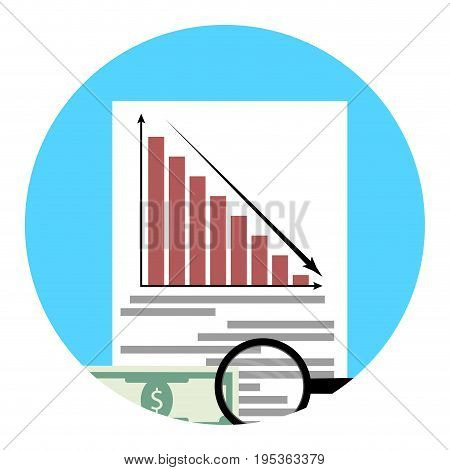 Analysis of financial crisis app icon. Financial economic crisis recession and bankruptcy stock market. Vector illustration