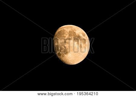 Nice Golden Moon With Just Small Piece In Shadow