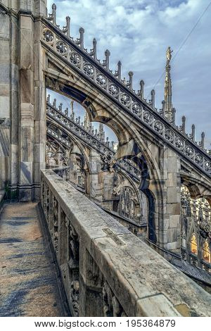 Architectonic details from the famous Milan Cathedral Lombardy Italy.