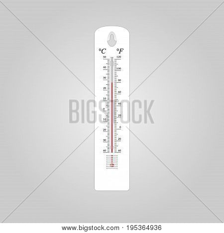 Illustration of outdoor thermometer with scales in Celsius and Fahrenheit on a gray background
