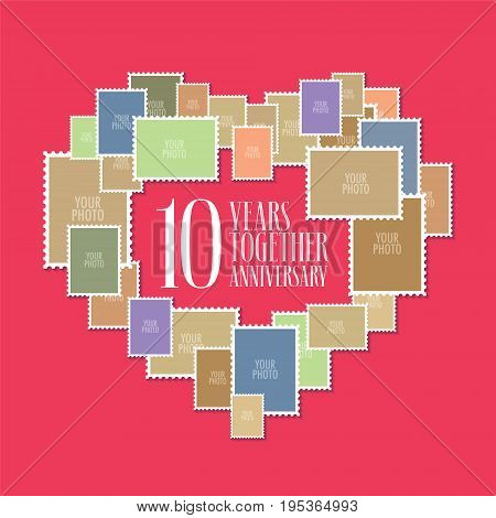 10 years of wedding or marriage vector icon, illustration. Template design element with photo frames and heart shape for celebration of 10th wedding anniversary