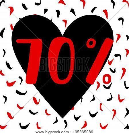 Sale offer banner 70% off. Hand drawn background. Vector illustration