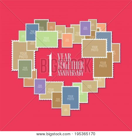 1 years of wedding or marriage vector icon, illustration. Template design element with photo frames and heart shape for celebration of 1st wedding anniversary