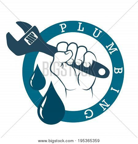 Plumbing plumbing in hand symbol vector illustration