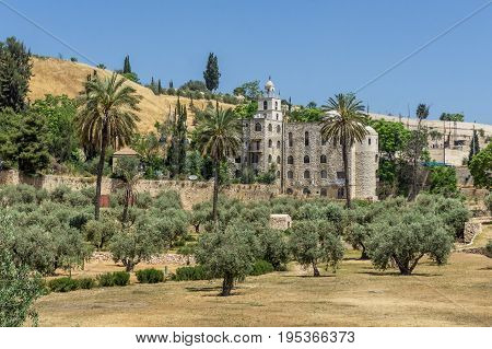 JERUSALEM ISRAEL - MAY 12: The Greek Orthodox Church of St. Stephen near the Church of All Nations and the Garden of Gethsemane in Jerusalem Israel on May 12 2017