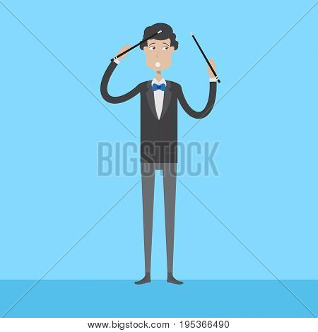 Composer Character   set of vector character illustration use for human, profession, business, marketing and much more.The set can be used for several purposes like: websites, print templates, presentation templates, and promotional materials.