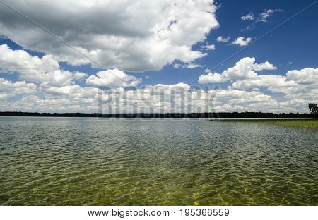 Pure summer lake water and beautiful scenery of nature sailing in lake water vacation rest