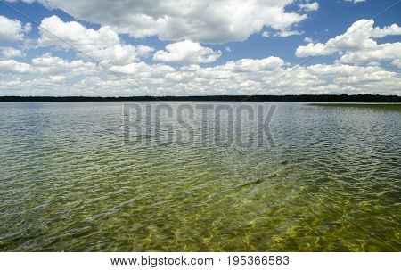 Summer lake natural background. Clouds water and sky natural background