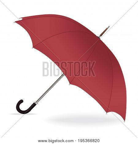 Umbrella vector. Opened red umbrella from the rain with iron handle, isolated on white background