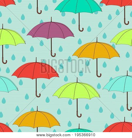 Umbrellas seamless pattern, vector background. Multicolored bright umbrellas and raindrops on a blue background. For wallpaper design, wrappers, fabrics, decorating