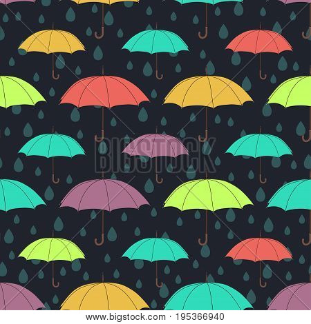 Umbrellas seamless pattern, vector background. Multicolored bright umbrellas and raindrops on a dark blue background. For wallpaper design, wrappers, fabrics, decorating