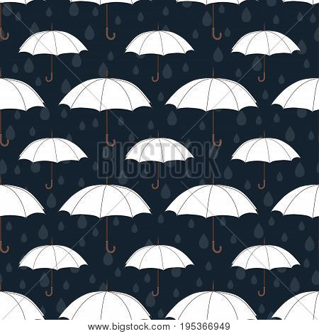 Umbrellas seamless pattern, vector background. White umbrellas and raindrops on a dark blue background. For wallpaper design, wrappers, fabrics, decorating