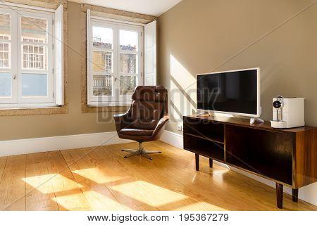 A Modern Brightly Lit Scandinavian Living Room