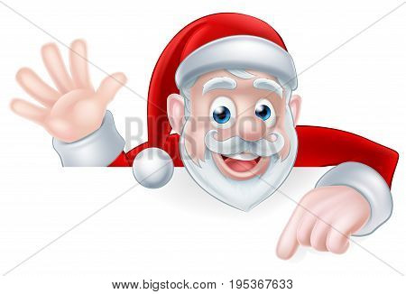 An illustration of a cartoon Santa claus waving and pointing while peeking over a sign