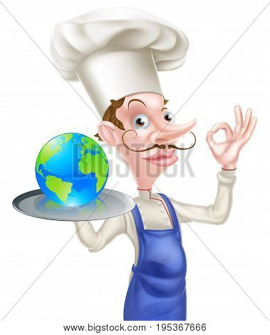 An illustration of a cartoon chef doing a perfect or okay sign and holding a tray with a world globe icon on it