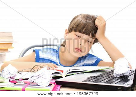 teenager with book on a white background got tired and fell asleep right in the class