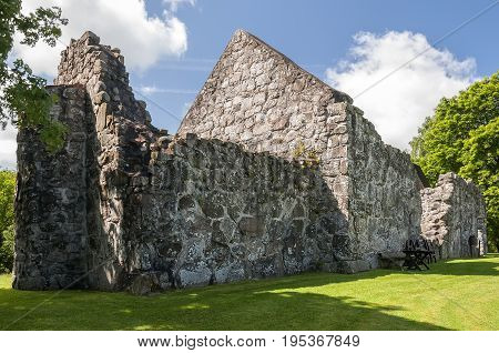 The ruins of the first Rya church. It was completed in the late 1100s. It might by built by monks from the Herrevad Abbey.