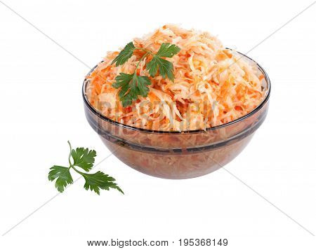 Sauerkraut in a bowl isolated on white background