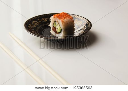 Sushi Plate Against A White Background