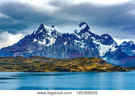 Torres del Paine over the Pehoe lake, Patagonia, Chile - Southern Patagonian Ice Field, Magellanes Region of South America