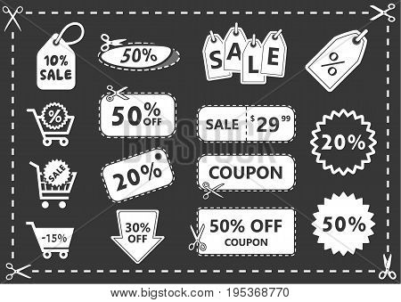 discount coupons set discount icons shopping icons offer price