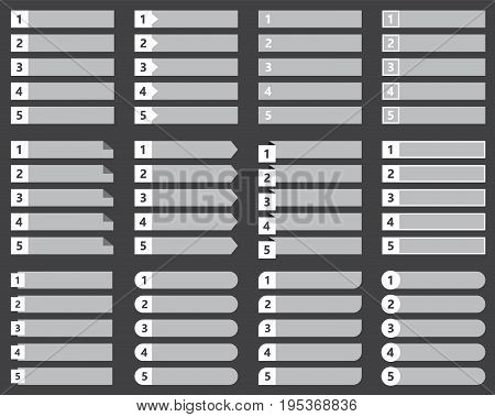 vector numbered list template, chart table vector design