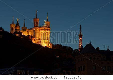 Blue Hour On Basilica And Hill Of Fouviere In Lyon City Center