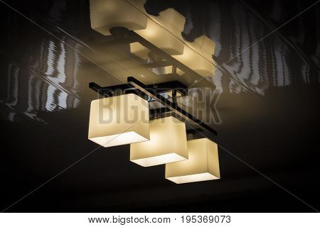 Home ceiling lamp with energy-saving lamp closeup