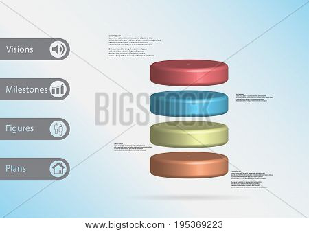 3D Illustration Infographic Template With Cylinder Horizontally Divided To Four Color Slices
