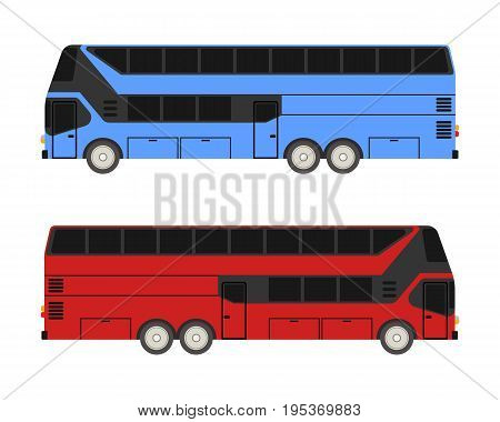 Travel bus vector flat illustration. Modern Touring bus vector. Bus on a white background.