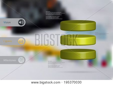 3D illustration infographic template with motif of cylinder horizontally divided to three green slices with simple sign and sample text on side in bars. Blurred photo is used as background.