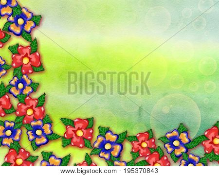 A digitally created watercolor background effect with painted flowers forming a canvas border.