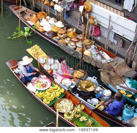 Traditional floating market near Bangkok, Thailand.