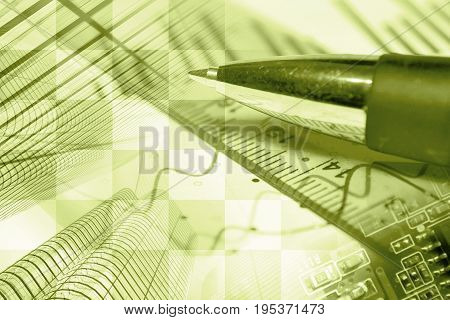 Business background in sepia with buildings graph and pen.