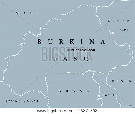 Burkina Faso political map with capital Ouagadougou. Landlocked country in West Africa, formerly the Republic of Upper Volta. Gray illustration with English labeling. Vector.