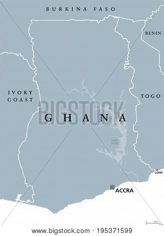 Ghana political map with capital Accra. Republic and country in West Africa along the Gulf of Guinea and Atlantic Ocean. Gray illustration isolated on white background with English labeling. Vector.