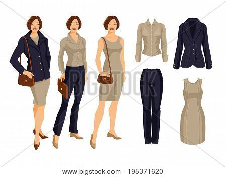 Vector illustration of corporate dress code. Variations look with blue suit, beige dress and blouse, Young women in formal clothes
