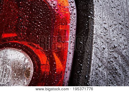 Part Of A Wet Car
