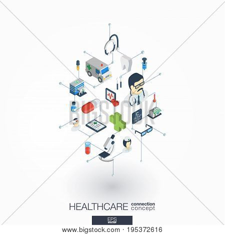 Healthcare, integrated 3d web icons. Digital network isometric interact concept. Connected graphic design dot and line system. Abstract background for medicine and medical service. Vector on white.