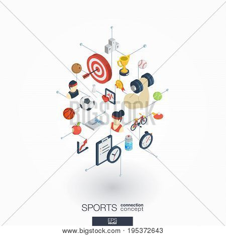 Sport integrated 3d web icons. Digital network isometric interact concept. Connected graphic design dot and line system. Abstract background for healthy, lifestyle, fitness and gym . Vector on white.