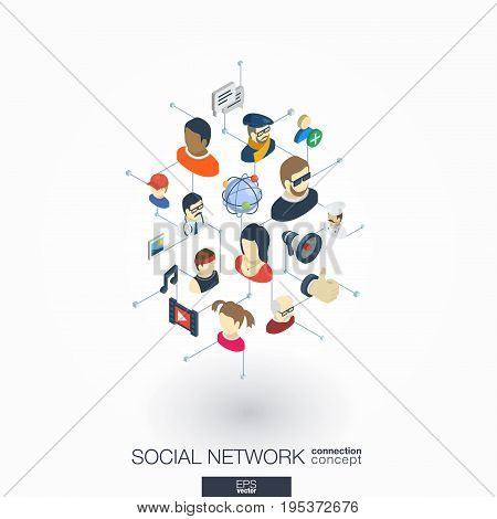 Society integrated 3d web icons. Digital network isometric interact concept. Connected graphic design dot and line system. Abstract background for social media, people communication. Vector on white.